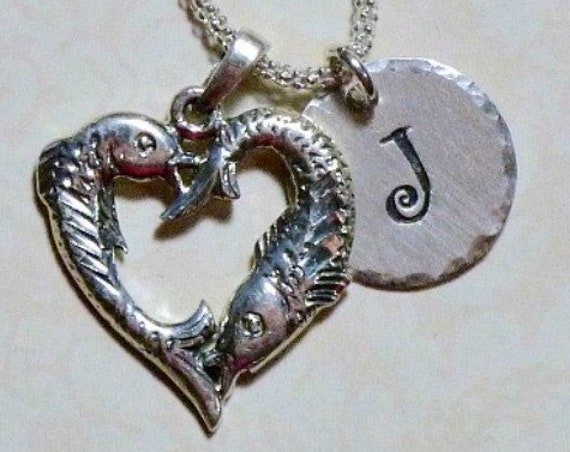 Personalized Pisces the Fish Zodiac Hand Stamped Sterling Silver Initial Charm Necklace