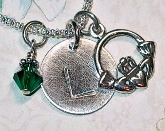 Personalized Irish Claddagh Hand Stamped Sterling Silver Initial Charm Necklace