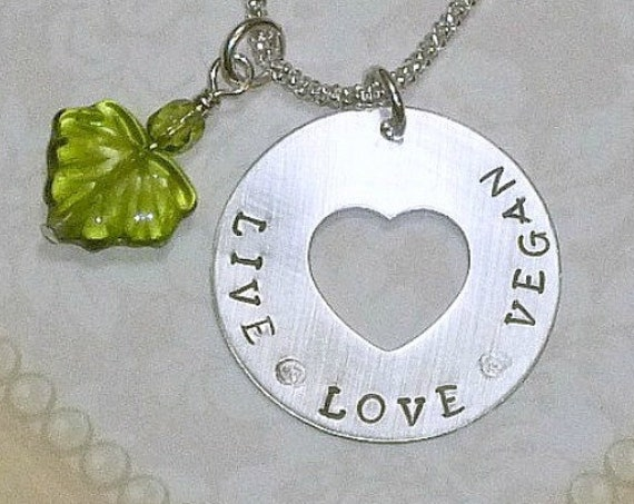 Live Love Vegan Hand Stamped Sterling Silver Cut Out Heart Washer Necklace
