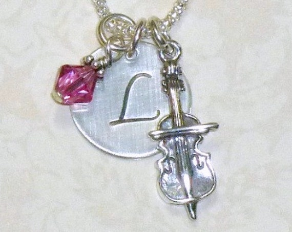 Personalized Cello Hand Stamped Sterling Silver Initial Charm Necklace