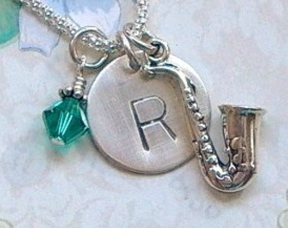 Saxophone Hand Stamped Sterling Silver Initial Charm Necklace