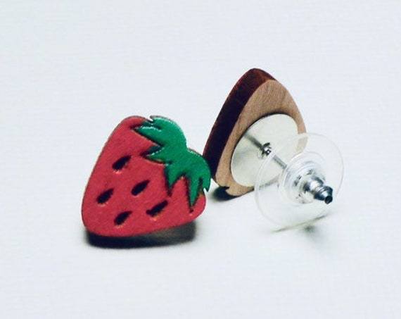 Hand Painted Laser Cut Wood Strawberry Stud Earrings