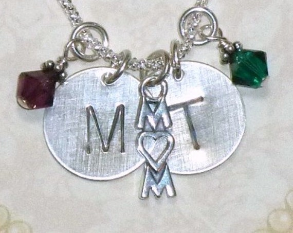 Personalized Mom Sterling Silver Hand Stamped Initial and Birthstone Necklace
