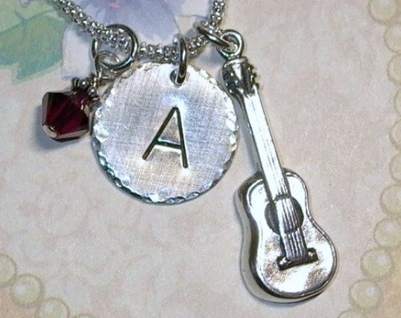 Personalized Acoustic Guitar Hand Stamped Sterling Silver Initial Charm Necklace