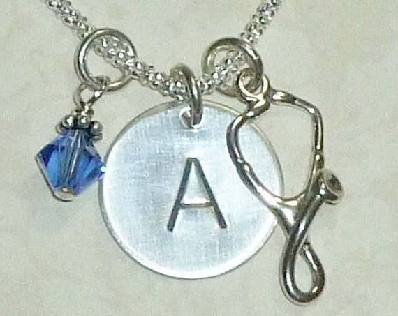 Personalized Stethoscope Hand Stamped Sterling Silver Initial Charm Necklace
