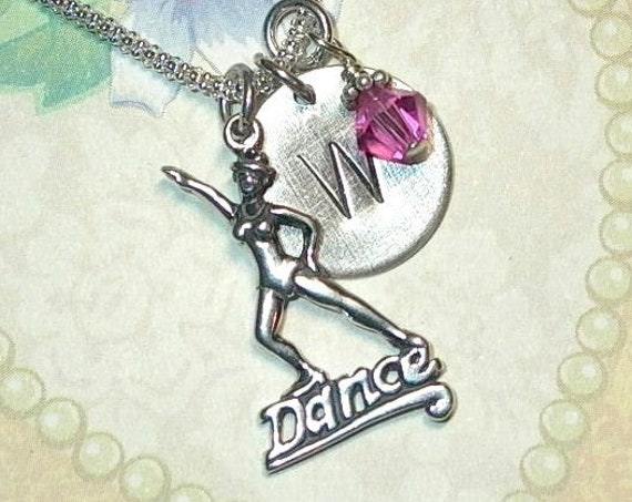 Personalized Dancer Hand Stamped Sterling Silver Initial Charm Necklace
