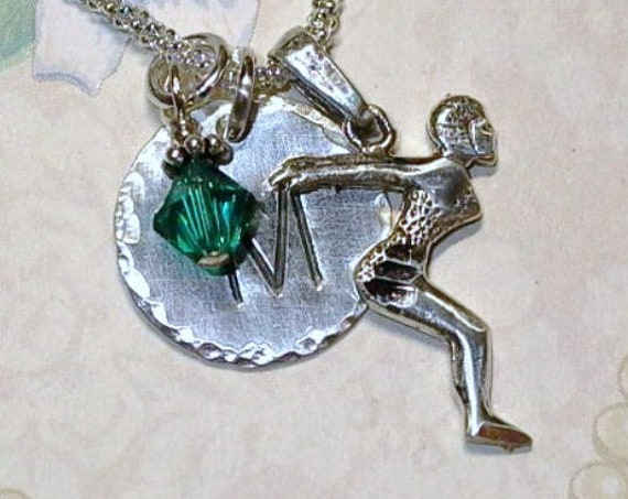 Swimmer Female Diver Hand Stamped Sterling Silver Initial Charm Necklace