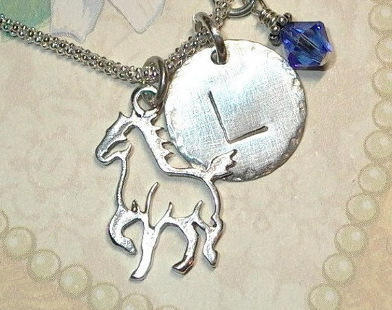 Personalized Equestrian Walking Horse Hand Stamped Sterling Silver Initial Charm Necklace