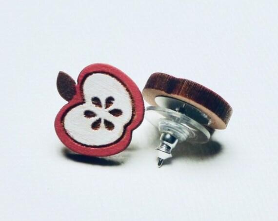 Hand Painted Laser Cut Wood Apple Stud Earrings