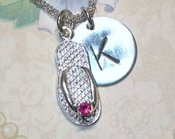 July Ruby Birthstone Flip Flop Hand Stamped Sterling Silver Initial Charm Necklace