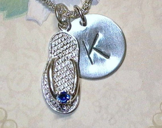 Personalized September Sapphire Birthstone Flip Flop Hand Stamped Sterling Silver Initial Necklace