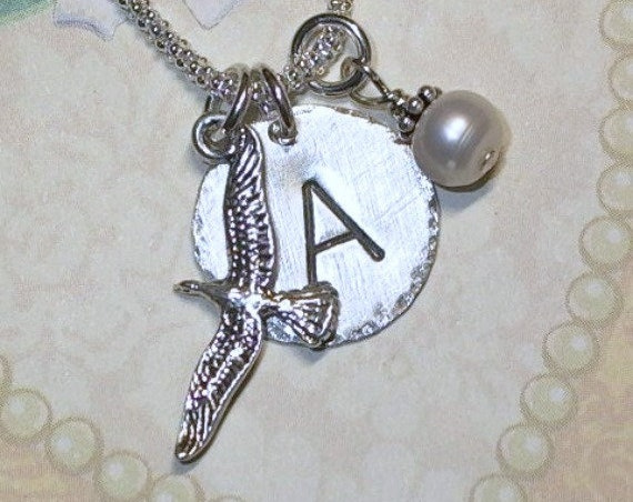 Personalized Seagull Hand Stamped Sterling Silver Initial Charm Necklace
