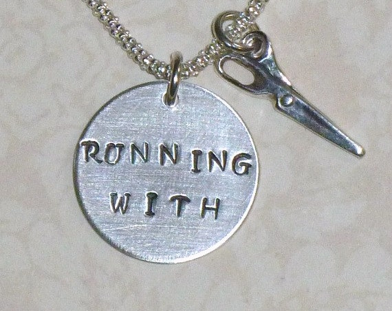 Running with Scissors Hand Stamped Sterling Silver Charm Necklace