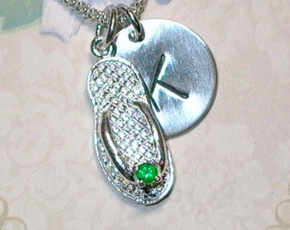 Personalized Emerald May Birthstone Flip Flop Hand Stamped Sterling Silver Initial Charm Necklace