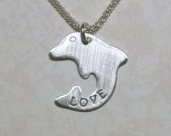 Personalized Dolphin Love Hand Stamped Sterling Silver Charm Necklace