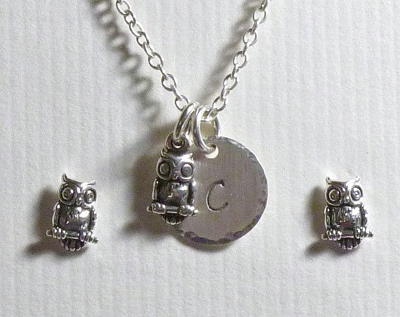 Personalized Owl Hand Stamped Sterling Silver Petite Initial Charm Necklace and Earring Jewelry Set