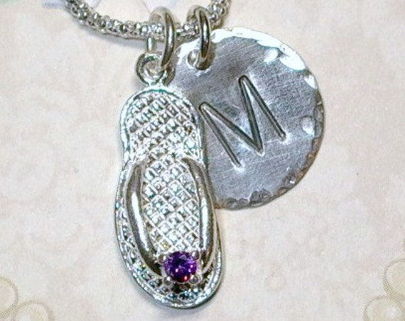 February Amethyst Birthstone Flip Flop Hand Stamped Sterling Silver Initial Charm Necklace