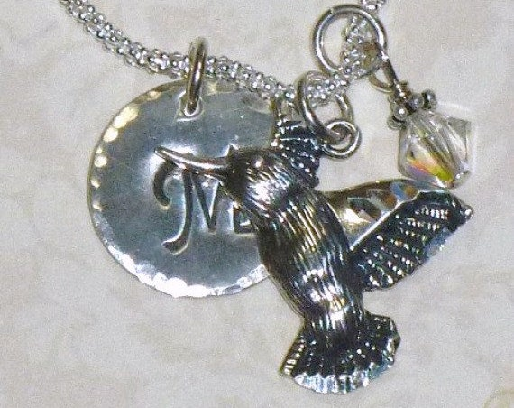 Personalized Hummingbird Hand Stamped Sterling Silver Initial Charm Necklace