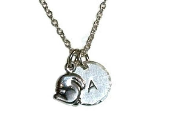 Personalized Bunny Petite Initial Hand Stamped Sterling Silver Charm Necklace