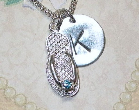 December Birthstone Flip Flop Hand Stamped Sterling Silver Initial Charm Necklace