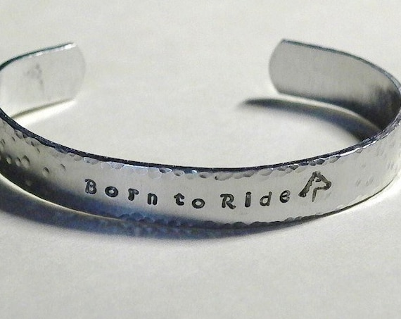 Personalized Equestrian Born to Ride Hand Stamped Aluminum Cuff Bracelet