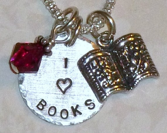 I Love Books Hand Stamped Sterling Silver Charm Necklace