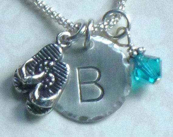 Personalized Flip Flop Hand Stamped Sterling Silver Initial Charm Necklace
