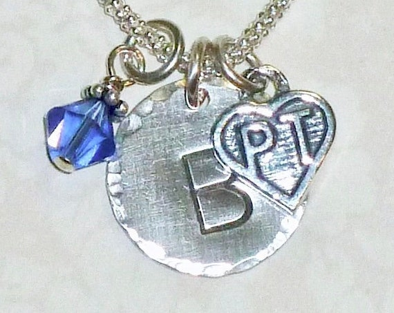 Personalized Physical Therapist Hand Stamped Sterling Silver Initial Charm Necklace