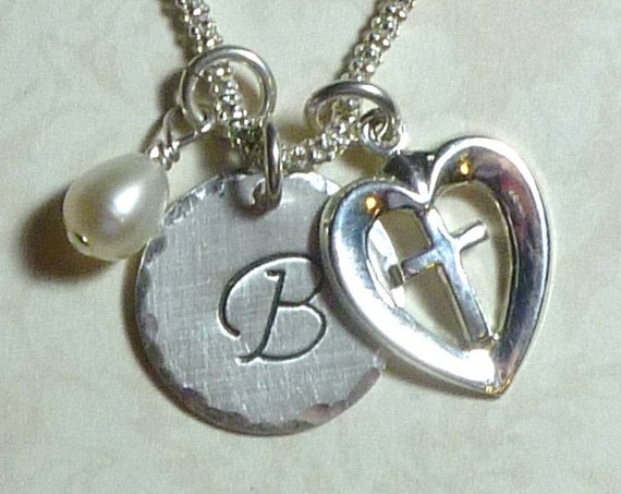 Religious Cross in a Heart Hand Stamped Sterling Silver Initial Charm Necklace