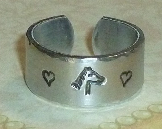 Equestrian Horse Lover Hand Stamped Aluminum Wide Band Ring