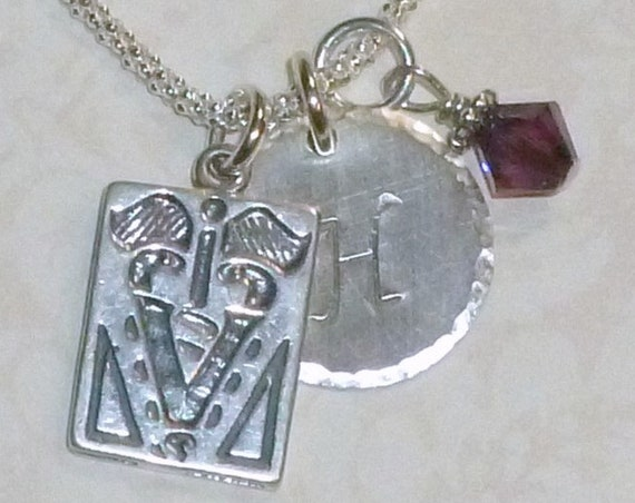 Personalized Veterinarian Text Book Hand Stamped Sterling Silver Initial Charm Necklace