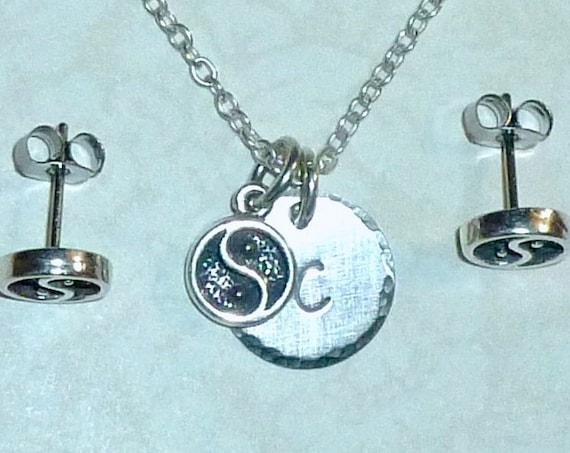 Personalized Yin Yang Hand Stamped Sterling Silver Petite Initial Charm Necklace and Earring Jewelry Set