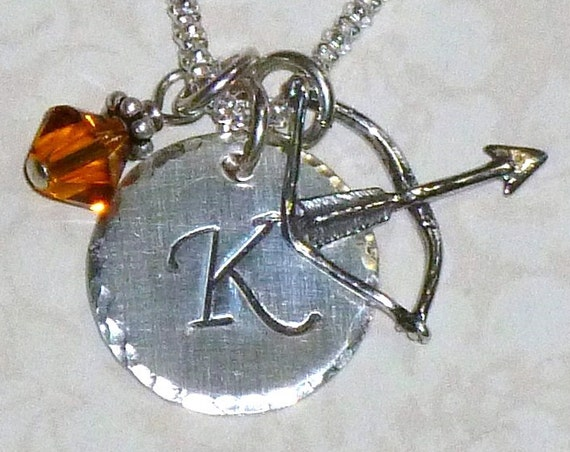 Personalized Archery Bow and Arrow Hand Stamped Sterling Silver Initial Charm Necklace