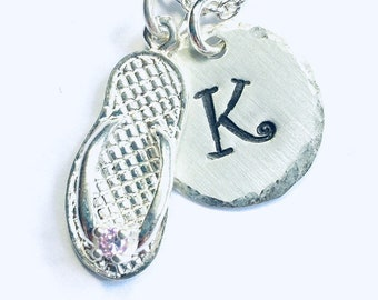 October Birthstone Flip Flop Hand Stamped Sterling Silver Initial Charm Necklace - Beach Jewelry