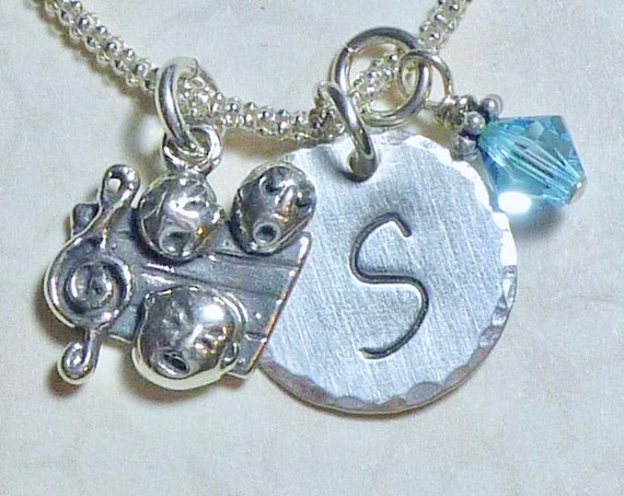 Show Choir with a Music Note Hand Stamped Sterling Silver Initial Charm Necklace