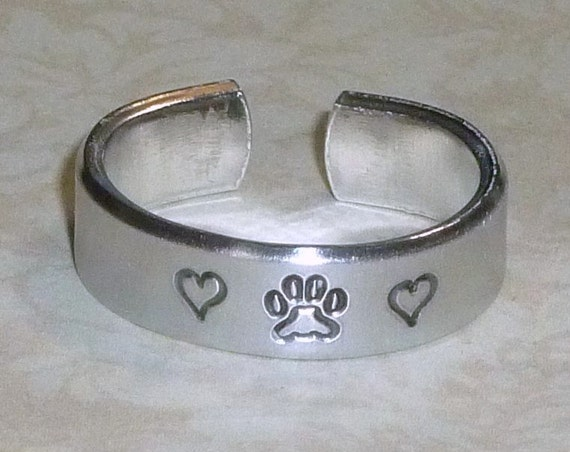 Dog Paw Print with Hearts Hand Stamped Aluminum Band Ring