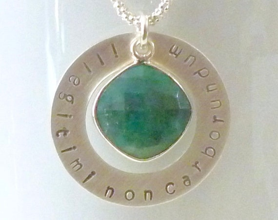 Latin Phrase Don't Let The Bastards Grind You Down Necklace with Emerald Gemstone