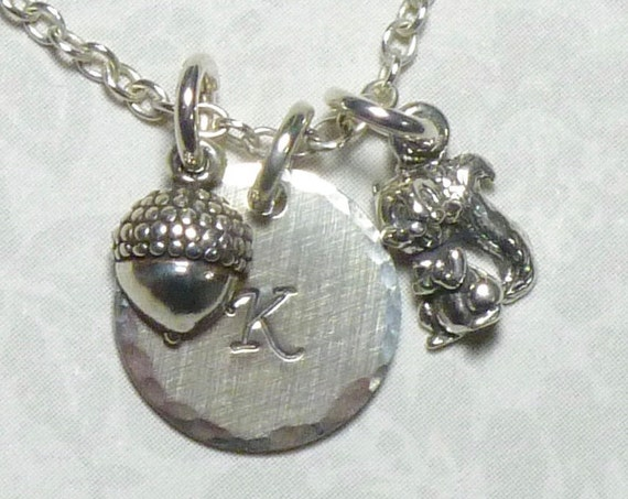 Squirrel and Acorn Hand Stamped Sterling Silver Petite Initial Charm Necklace