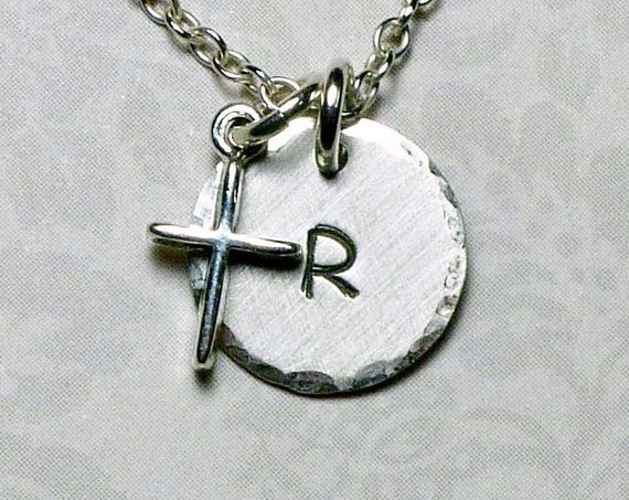 Personalized Tiny Plain Cross Hand Stamped Sterling Silver Petite Initial Charm Necklace