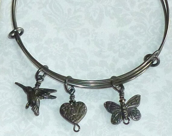 Hummingbird Heart Butterfly Black Adjustable Wire Charm Bracelet