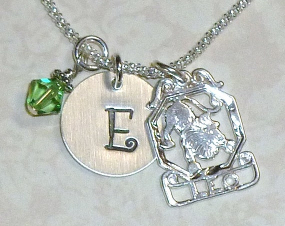 Personalized Leo the Lion Zodiac Hand Stamped Sterling Silver Initial Charm Necklace