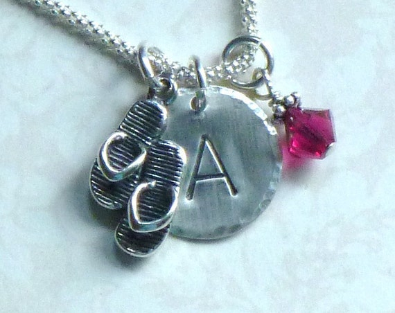 Personalized Striped Flip Flops Hand Stamped Sterling Silver Initial Charm Necklace