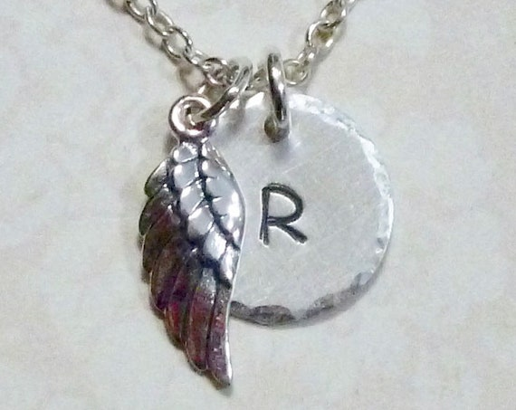 Personalized Angel Wing Hand Stamped Sterling Silver Petite Initial Charm Necklace