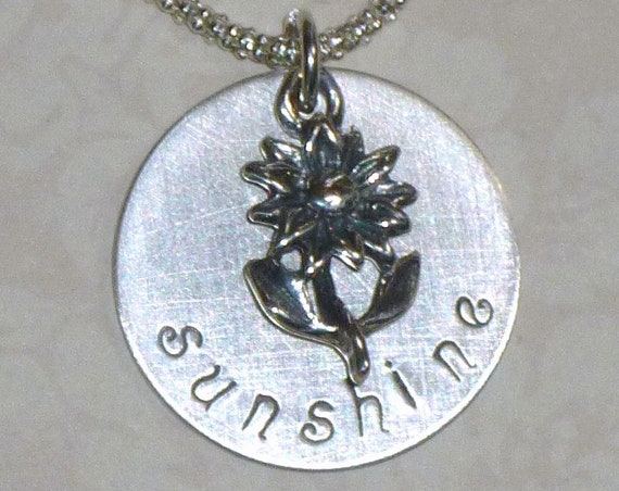 Personalized Sunflower Sunshine Hand Stamped Sterling Silver Charm Necklace