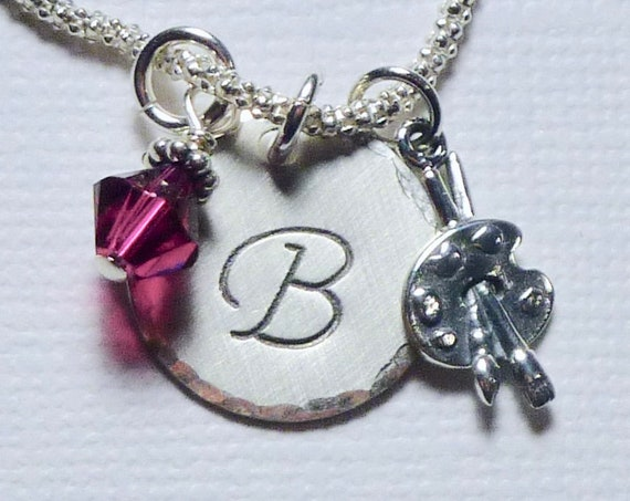 Artist Paint Brush and Palette Hand Stamped Sterling Silver Initial Charm Necklace