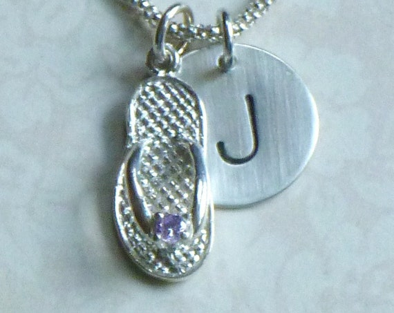 June Birthstone Flip Flop Hand Stamped Sterling Silver Initial Charm Necklace