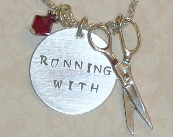 Running with Scissors Hair Stylist Hand Stamped Sterling Silver Charm Necklace