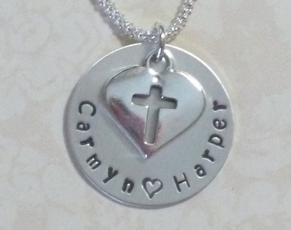 Mothers Personalized Cross Hand Stamped Sterling Silver Charm Necklace