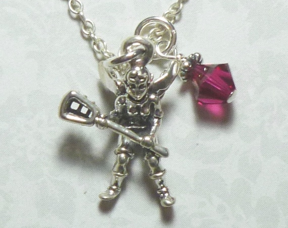 Lacrosse Angel Sterling Silver Charm Necklace with Crystal Birthstone