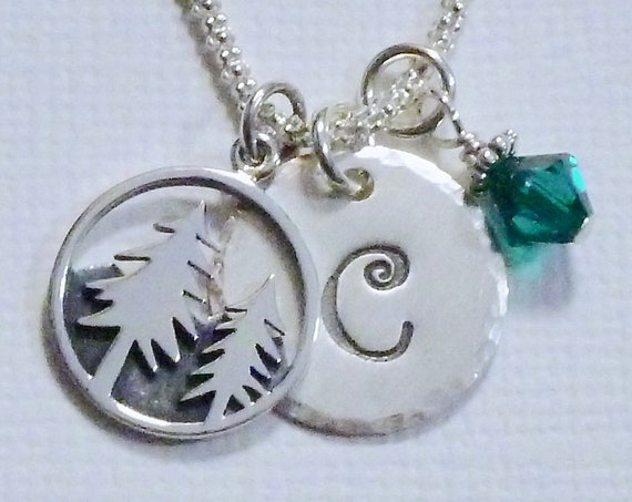 Personalized Mountain Pine Tree Hand Stamped Sterling Silver Initial Charm Necklace